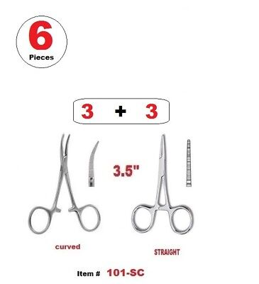 6 Pcs 3.5 Hemostat Mosquito Forceps Straight Curved Stainless Steel