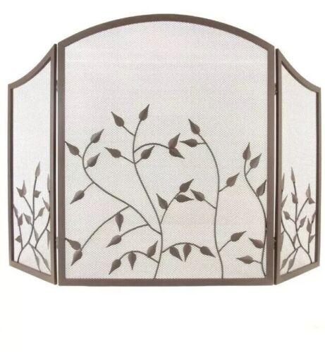 3-Panel Home Fireplace Screen Botanical Pattern 48'' L x 30'