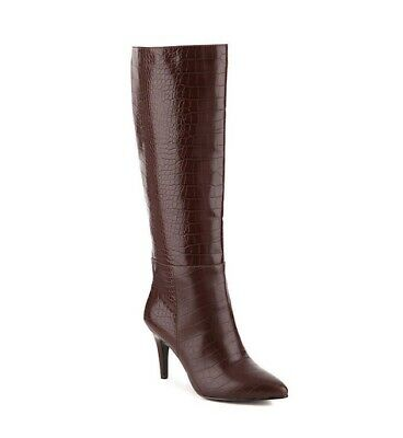 IMPO Tascana Boot Dark Brown Crocodile Print Faux Leather Size 8 Worn Once!