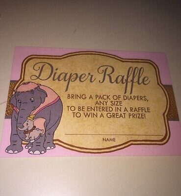 Dumbo Baby Shower Diaper Raffle Tickets / Printed Set of 12 New Card stock Pink - Dumbo Baby Shower