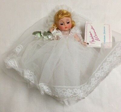 "Madame Alexander Miniature Showcase Bride Doll 8"", Blonde, Blue Eyes, Tags-Box"