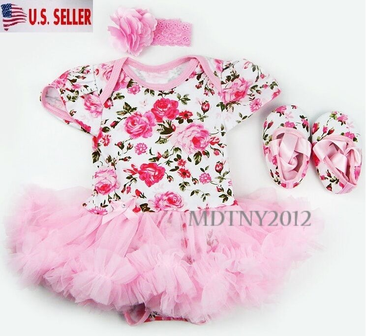 3PCS Newborn Baby Girl Outfits Clothes Romper tutu Dress Jum
