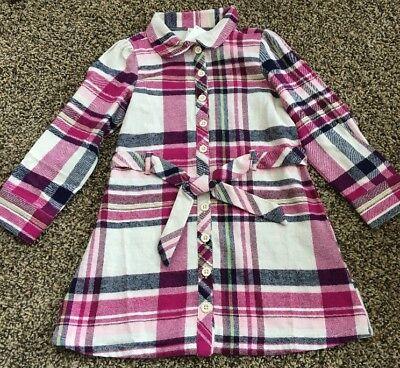 Gymboree Plum pony Plaid Belted Button Down Dress Girls Nwt Size 4](Plum Girls Dress)