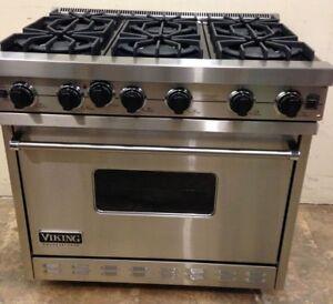 "Viking 36"" 6 Burner Gas Stainless Steel Range $5000"