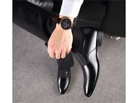 Men's new formal slip on classic real leather shoes. Black size 8