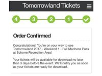 Tomorrowland 2017 weekend tickets with camping
