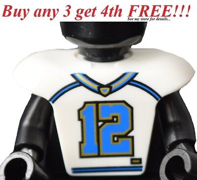 Hockey Body Armor - ☀️NEW White Minifig Hockey Body Armor w/ Football Jersey and Number 12 Pattern