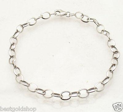 (Light 5mm Oval Charm Link Bracelet Real 14K White Gold Selectable Size)