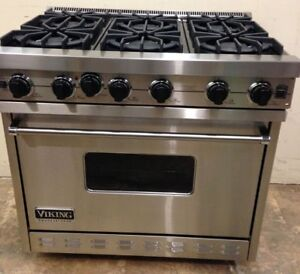 "Viking 36"" 6 Burner Gas Stainless Steel Range $5000"