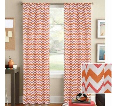"Orange And White Curtains (Better Homes And Gardens 52"" W x 63"" L Orange Red White Chevron Single)"