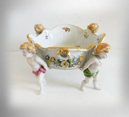 Schierholz antique German porcelain center bowl cherubs - hp floral  circa1910
