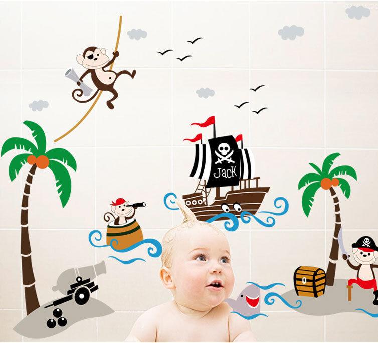 wandtattoo wandsticker affe piraten spielzimmer. Black Bedroom Furniture Sets. Home Design Ideas