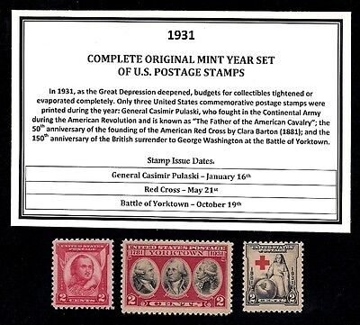 1931 COMPLETE YEAR SET OF MINT -MNH- VINTAGE U.S. POSTAGE STAMPS