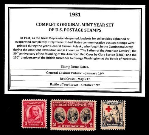 1931 COMPLETE YEAR SET OF MINT -MNH- VINTAGE U.S. POSTAGE STAMPS