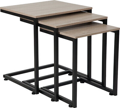 Sonoma Oak Wood Grain Finish Nesting Tables with Cantilever Base