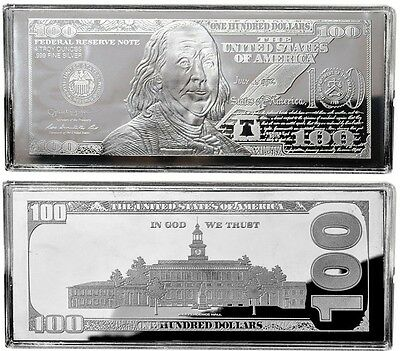 "2018 DATED PROOF 4oz CURRENCY UNC SILVER BAR FRANKLIN $100 ~ HUGE 2.5"" x 6"" .999"