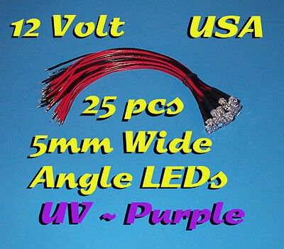 25 Pcs Led - 5mm Pre Wired Leds 12 Volt Wide Uv Purple 12v Prewired