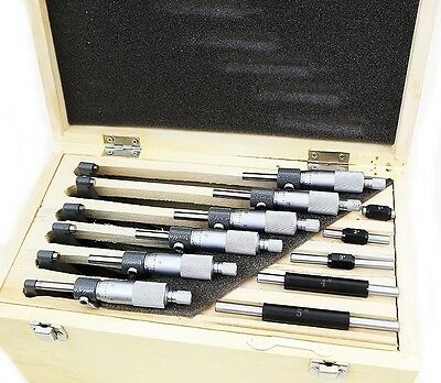 "0-6"" 6 Premium Outside Micrometer Set Solid Metal Frame .0001"" Carbide Tip"