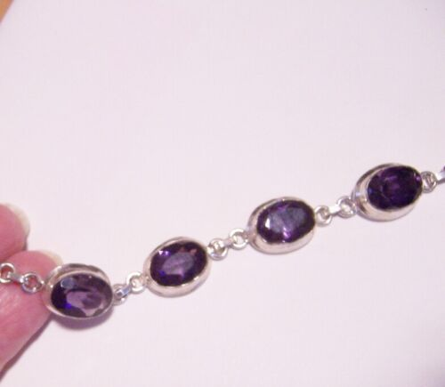 """925 Sterling Silver Pink Amethyst Neon Apatite Bracelet Gift Size 7.25"""" Ct 18.5"""