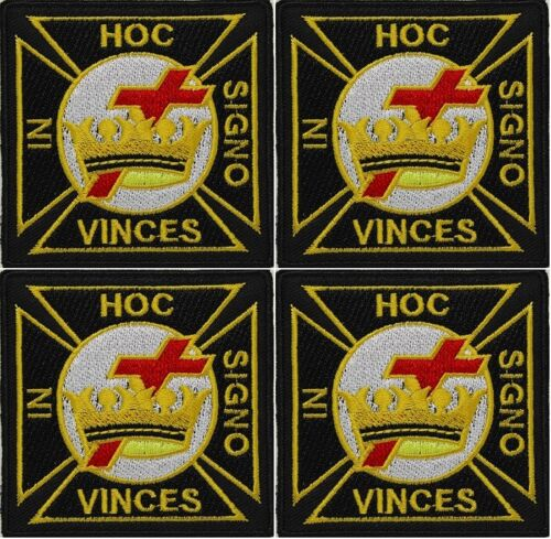 "4 x Masonic Knights Templar Embroidered Emblem 3"" Patch iron-on"