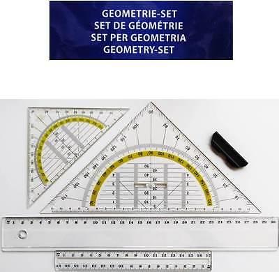Geoset 4-tlg. Lineal 30 cm+17cm+ Geodreieck klein+groß Linealset Geometrieset