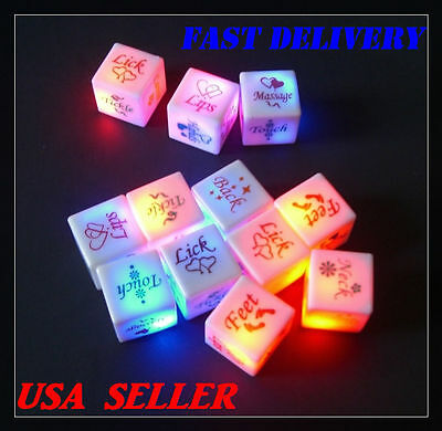 2 X LED Glow Dice Game Toy For Bachelor Sex Party Fun Adult Couple Novelty - Fun Couple