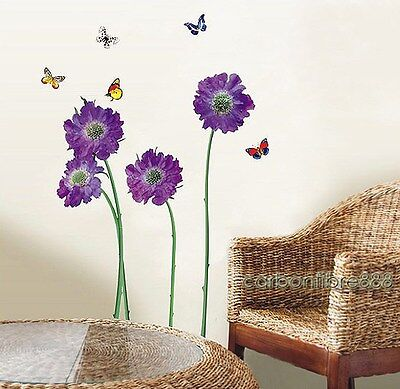Reusable VIOLET Flowers Mural Art Decals Wall Stickers TOP QUALITY Vinyl Decor