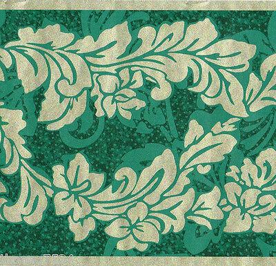 Metallic Scroll Wallpaper (Metallic Gold Green Acanthus Leaf Ivy Vine Scroll Victorian Wall paper Border)