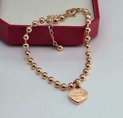 Love Forever Heart Rose Gold Link Chain Stainless Steel Gift Ankle Bracelet PE13