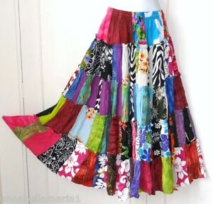 P6 SIESTA fair trade BOHO  gypsy HIPPY patchwork  SKIRT fits 8 10 12 14  BNWOT