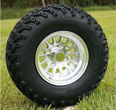 "Club Car Jake's 6"" Golf Cart Lift Kit, Tire, and Silver Medusa Wheel Combo"