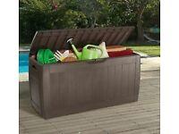 BRAND NEW Keter Outdoor Black Wood effect Garden storage box