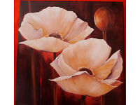Contemporary Art - Cream/White Poppies on Coffee Background