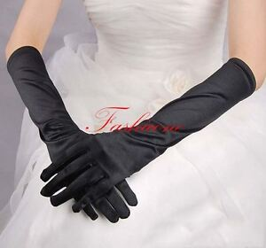 Ladies Long Black Gloves Elbow Stretch Satin Wedding Halloween Opera Fancy Dress