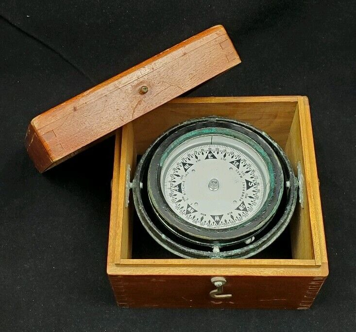 Antique E. S. Ritchie Gimbal Compass in Wooden Box * 1850‐1867 * Nautical Ships