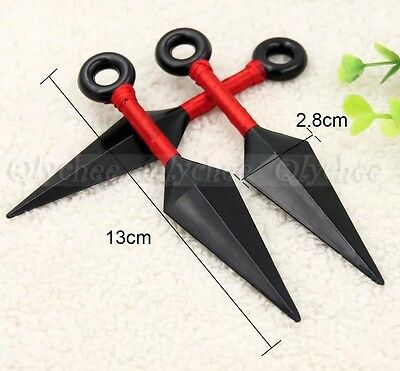 3 Naruto Plastic Ninja Kunai Knife Anime Cosplay Weapon Props 13cm Red US - Ninja Weapons