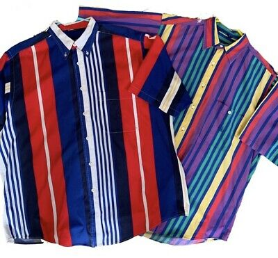 Vintage 90s Nautica Color Block Striped Button Down Short Sleeve Mens Shirt L
