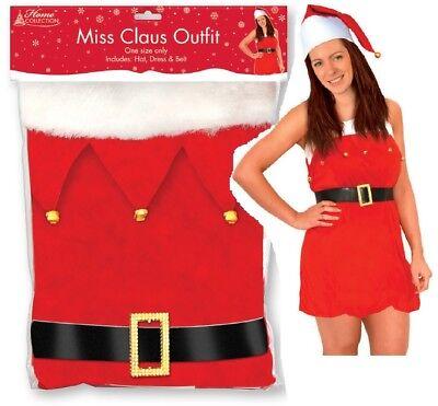 Einheitsgröße Damen Miss Claus Kostüm Weihnachtsfeier Weihnachten