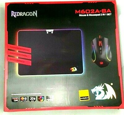 Redragon M602-BA Gaming Mouse and Mouse Pad Combo, Wired RGB Backlit, Ergonomic