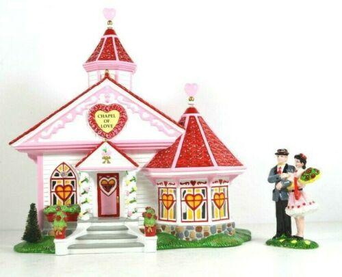 Department 56 - Chapel Of Love Set of 2 - Snow Village Valentines Day #55354 EUC