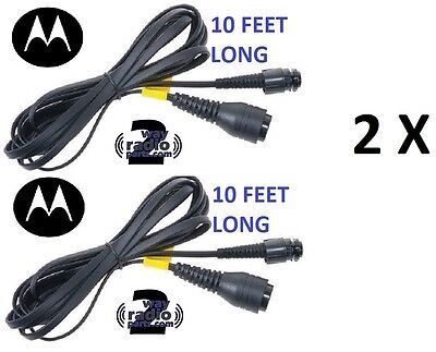 2 X Motorola Mototrbo Cable Mobile Mic Extension 10ft Pmkn4033a Xpr5550 Xpr4550