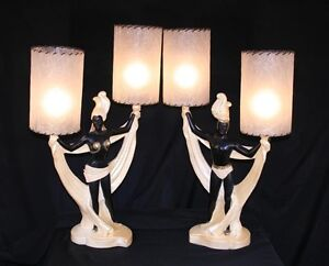Vtg-Pair-Continental-Art-Co-Art-Deco-Male-Female-Dancer-Lamps-Mid-Century