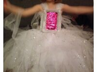 White Sequin party dress ,age 3