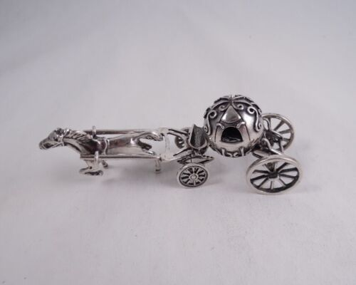 STERLING SILVER HORSE DRAWN CARRIAGE MINIATURE FIGURINE CINDERELLA