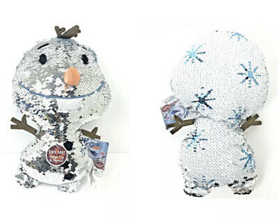 Disney Frozen 2 OLAF Reversible Sequins Stuffed Plush White & Silver Snowflakes