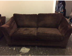 Brown chenille fabric 3 Seater Sofa and Snuggle Chair in Great Condition