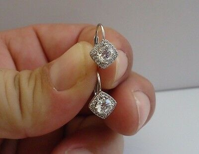 925 STERLING SILVER ROUND STONE HALO EARRINGS W/ 1.50 CT DIAMONDS/ 10MM BY 9MM