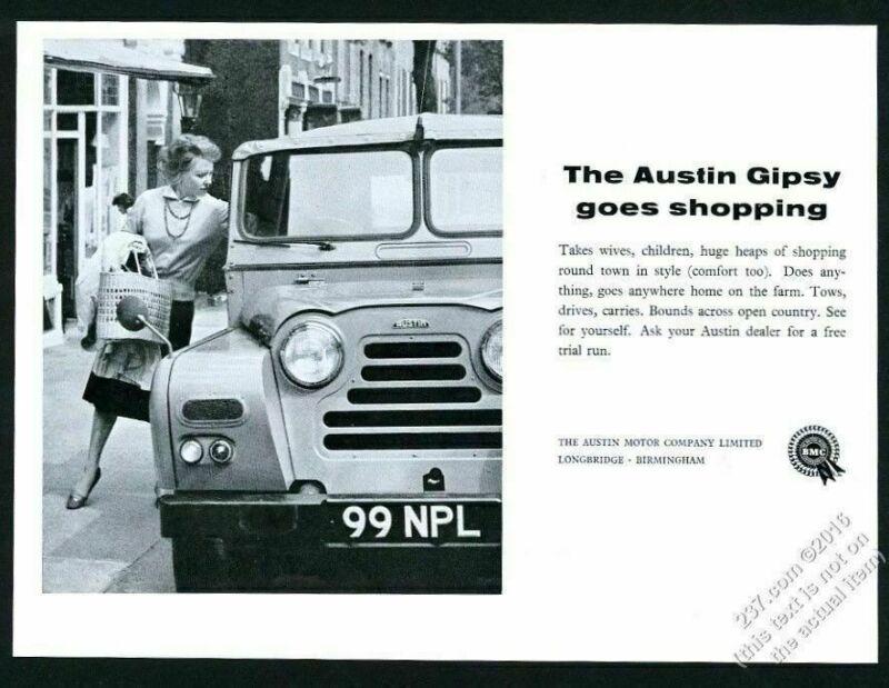 1961 Austin Gipsy and shopping woman photo vintage print ad