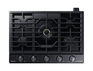 """30"""" Gas Chef Collection Cooktop with 22K BTU Dual Power Burner,(Black Stainless) (SAM212)"""