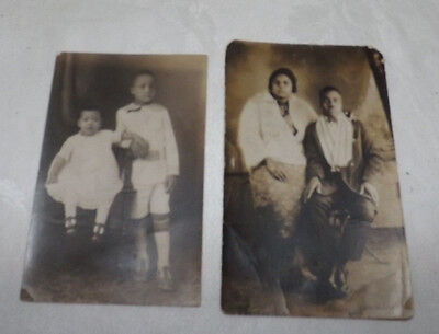 (2) Vintage Black Americana African American PHOTOS (Man and Woman & 2 Children)